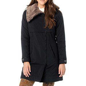 PRANA Kagool Black Jacket Coat Puffer Faux Fur S